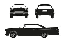 Silhouette Of Retro Car. Vintage Cabriolet. Front, Side And Back View.