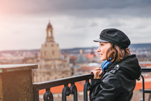 Happy Woman Travel In Europe, ...