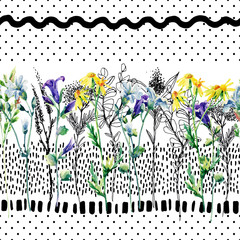 Panel Szklany Meadow watercolor and ink flower seamless pattern.