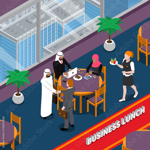 Arab Persons Business Lunch Isometric Illustration Wallpaper Mural