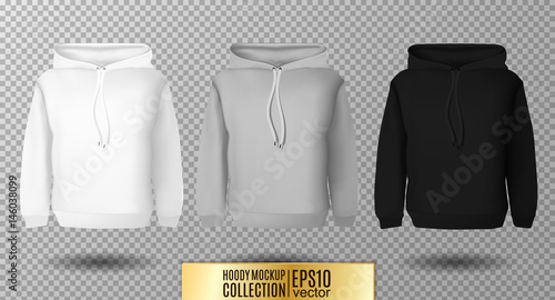 Hoody set. Realistic mockup. Long sleeve hoody template on ...