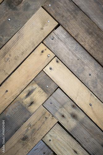 Herringbone Pattern Traditional Wood Flooring With Dark Textured