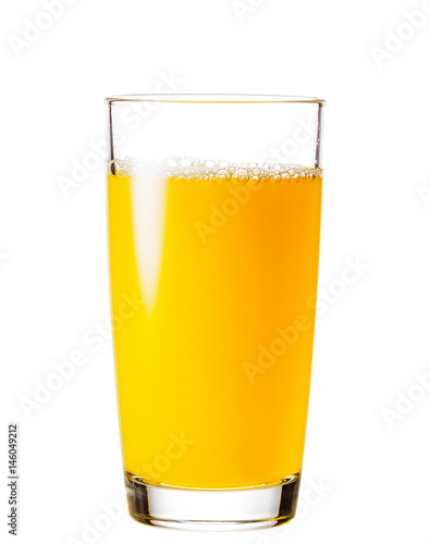 Foto auf Leinwand Saft Process of pouring orange juice into a glass