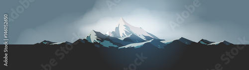 Poster Militaire Winter High Mountains Panorama - Vector Illustration.