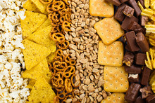 Unhealthy Snacks On Wooden Background