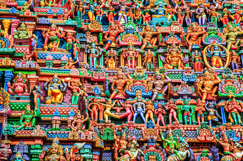 Garden Poster Temple Colorful carved walls of the Indian temple.