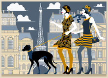 Two Flapper Girls Walking With...