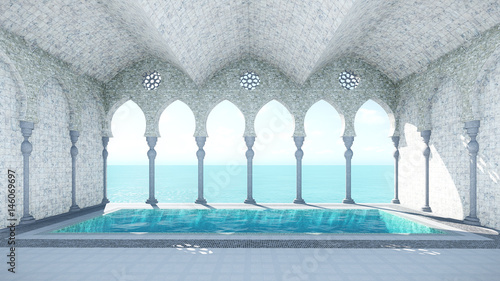 Photo 3d render from imagine arabic pool sea view center view