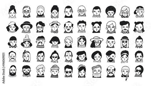 Valokuva Big set of people avatars for social media, website