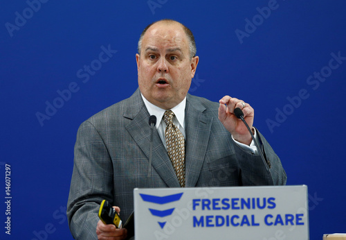 Fresenius Medical Care's CEO Powell speaks during the