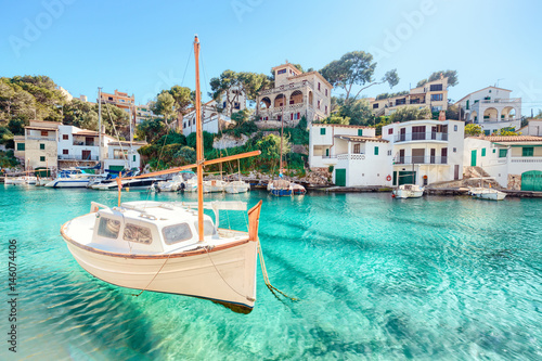 Mallorca Cala Figuera Boot Spanien Balearen Bucht Fototapet