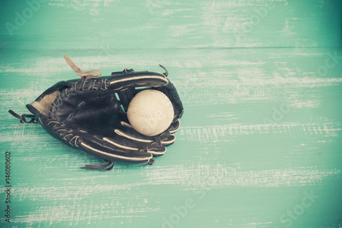 dirty and old baseball glove Poster