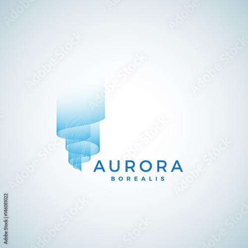Photo  Aurora Borealis Abstract Vector Sign, Emblem or Logo Template