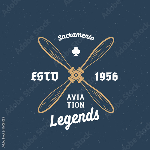 Photo Aviation Legends Airplane Vector Retro Label, Sign or Logo Template