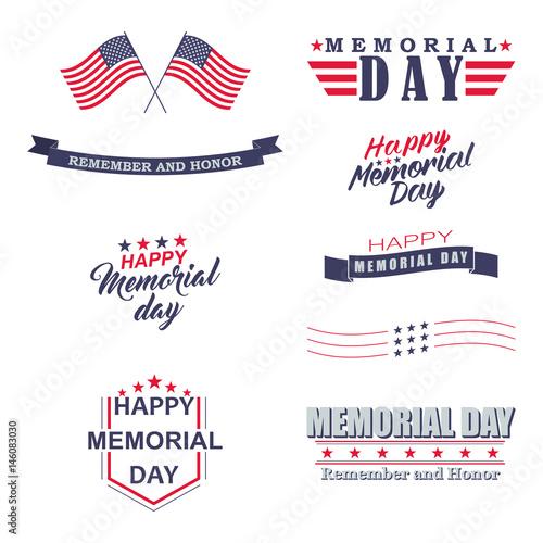 Vector Memorial day design elements Tableau sur Toile