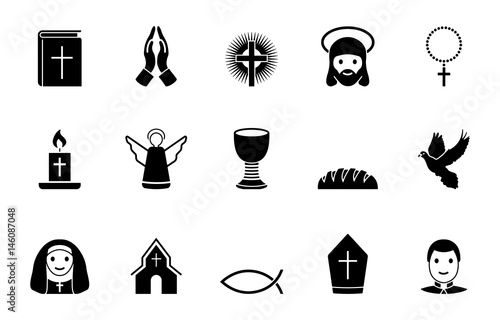 Christentum Iconset - Schwarz Fototapete