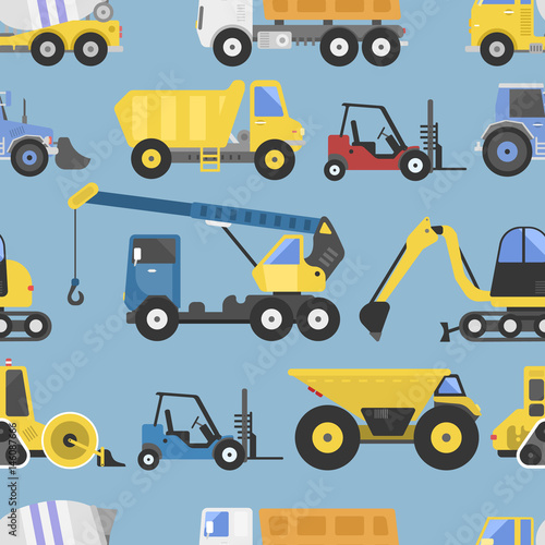 Cotton fabric Construction equipment seamless pattern machinery with trucks flat yellow transport vector illustration