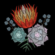 Embroidery Stitch With Protea Flower, Desert Succulents, Eucaliptus For Fabric Template.  Vector Fashion Ornament On Black Background For Textile Traditional Folk Floral Decoration. Vintage Patch.