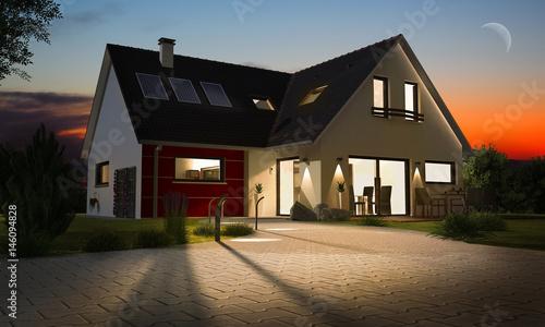 Maison contemporaine moderne illuminé – kaufen Sie dieses Foto und ...