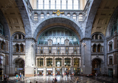 Poster Antwerp Railway station in Antwerpen Belgium.