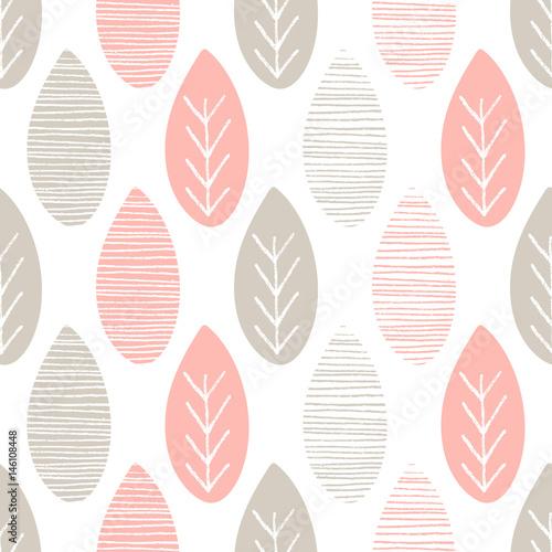Materiał do szycia Bezszwowe pastel natura wektor wzór. Szary i różowy liści z liniami i gałązki na białym tle. Ręcznie rysowane ornament streszczenie wiosna