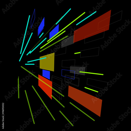 abstract vector illustration. white on a black background. - 146113032