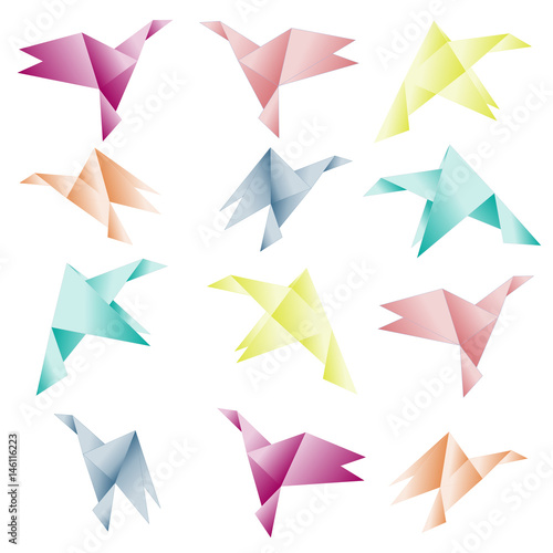 Poster Geometrische dieren Set of colored origami birds on the white background