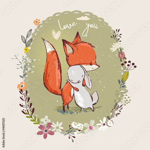 cute little hare with fox