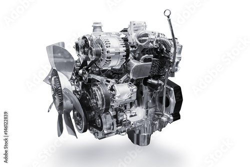 Foto Car Engine isolated on white background with clipping path.