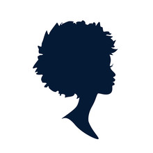 Beautiful Silhouette Cameo Of A Young Woman's Profile. Vector Logo Or Icon.
