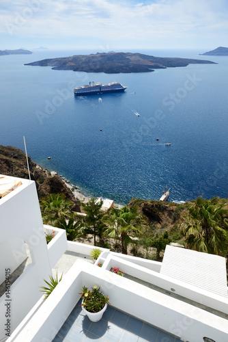 In de dag Rio de Janeiro The house decoration and sea view, Santorini island, Greece