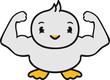 canvas print picture - muskeln stark sexy männlich bodybuilder trainieren fitness posieren muskulös süß niedlich klein baby kind ente vogel comic cartoon