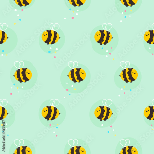 Cotton fabric Bee pattern