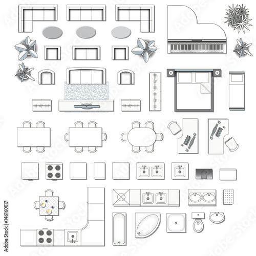 Set top view for interior icon design elements for living for Floor plan furniture store