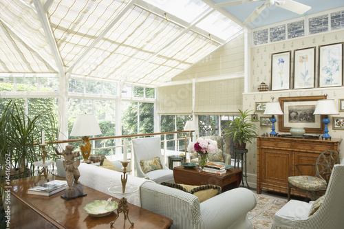 two story garden and kitchen conservatory second floor garden room casual slipcovered furniture - Kitchen Conservatory