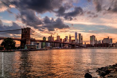Spoed Fotobehang Brooklyn Bridge New York Skyline