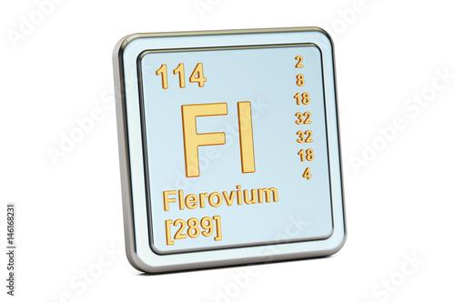 Poster  Flerovium Fl, chemical element sign. 3D rendering