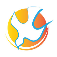 Holy Spirit Symbol - A White Dove With Fire Halo. Abstract Vector Logo.