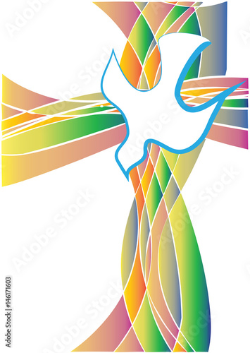 Holy Spirit symbol - a white dove with a cross made of colorful rays in church s Canvas-taulu