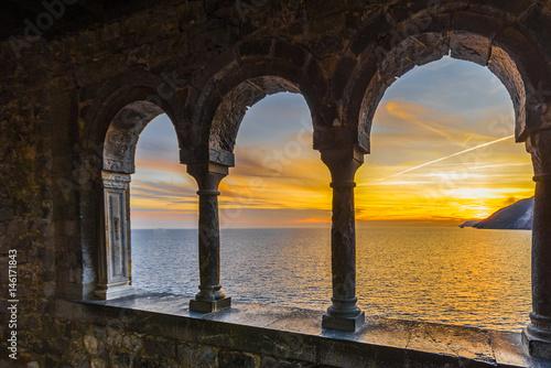 Canvas Prints Liguria Sunset window at Portovenere