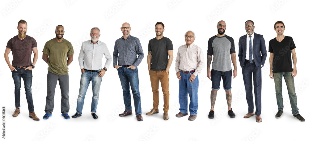 Fototapety, obrazy: Diversity Men Set Gesture Standing Together Studio Isolated