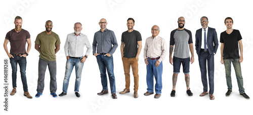 Obraz Diversity Men Set Gesture Standing Together Studio Isolated - fototapety do salonu