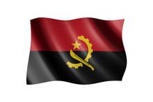 Flag Of Angola Isolated On Whi...