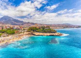 El Duque Beach aerial view in Tenerife, Spain