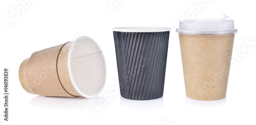 Paper cup of hot coffee on white