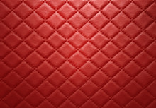 Red Leather Texture With Seam Background