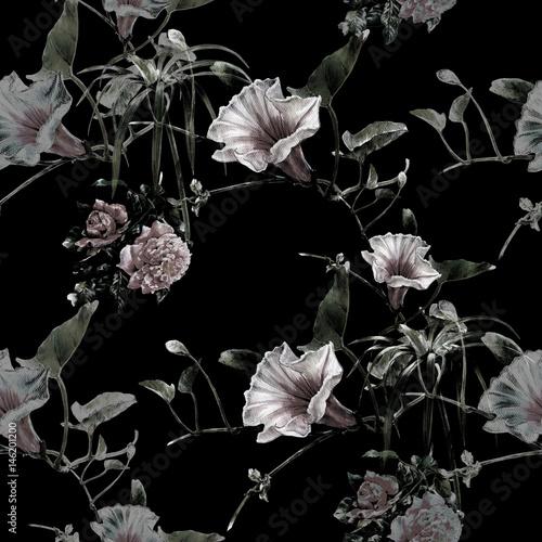 akwarela-obraz-lisc-i-kwiaty-bezszwowy-wzor-na-ciemnym-tle