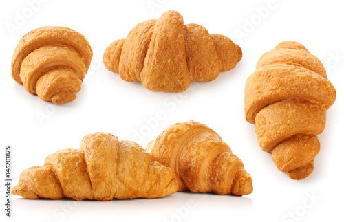 Spoed Foto op Canvas Pizzeria Croissant isolated on white background