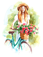 Beautiful Woman Wearing A Straw Hat And White Dress Holding A Vintage Bicycle With Flower Basket Hand Painted Watercolor Illustration