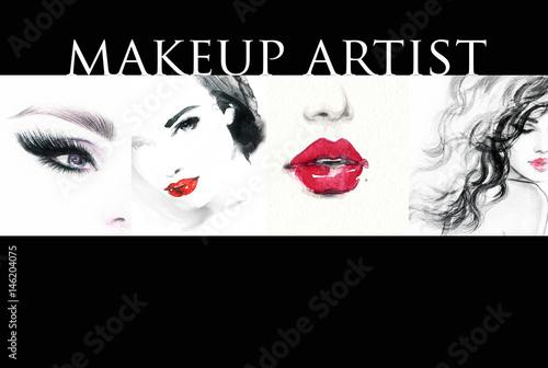 Poster Portrait Aquarelle Collage. Make up. Beautiful woman. Fashion illustration.